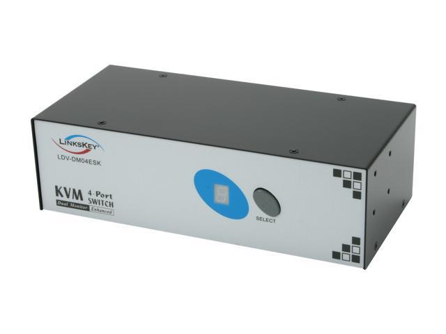 LINKSKEY LDV-DM04ESK 4-Port Dual Monitor Enhanced DVI KVM Switch w/ Cables