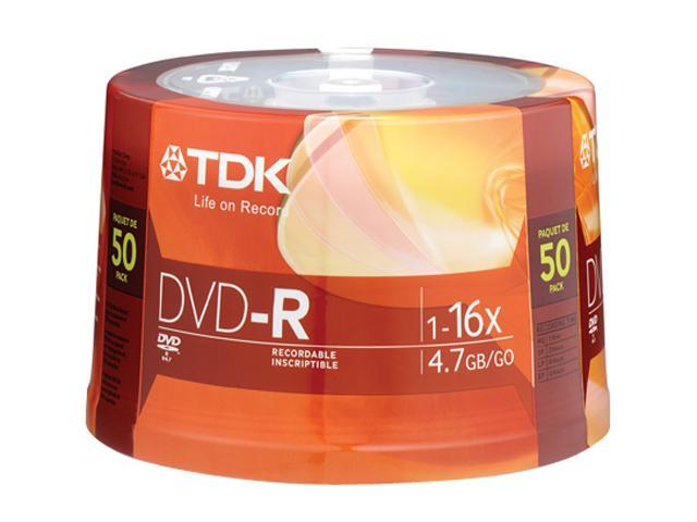 TDK 4.7GB 16X DVD-R 50 Packs Disc Model 48518