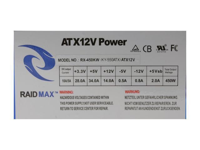 RAIDMAX RX-450KW ATX12V 450W Power Supply - Retail