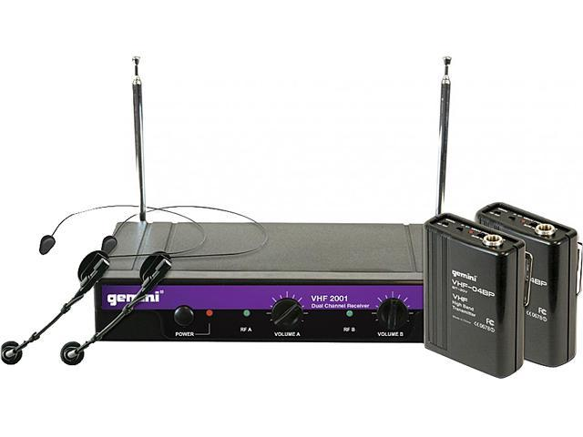 GEMINI VHF-1001HL Single-Channel VHF Wireless Microphone System (Includes headset microphone with belt pack transmitter)