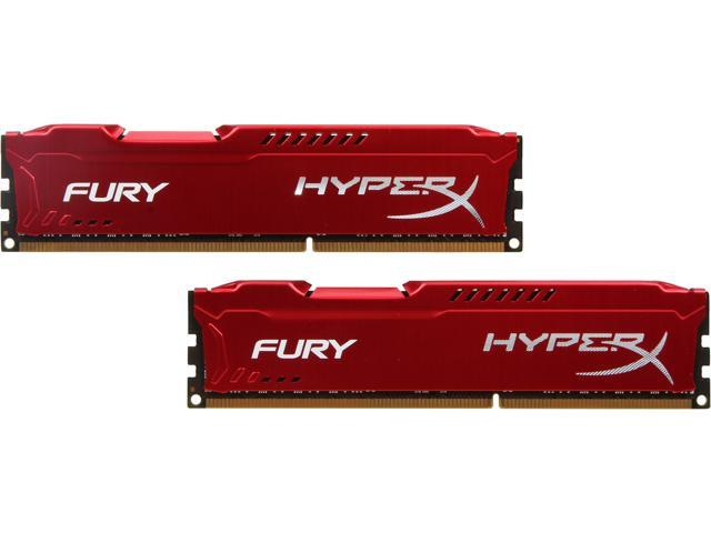 HyperX Fury Red Series 16GB (2 x 8GB) 240-Pin DDR3 SDRAM DDR3 1333 (PC3 10600) Desktop Memory Model HX313C9FRK2/16