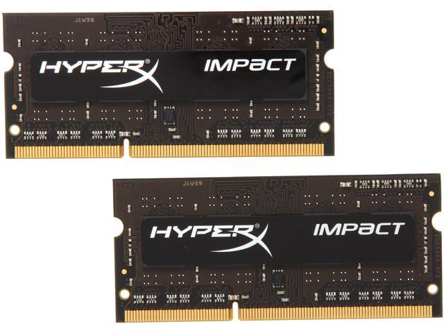HyperX Impact Black Series 8GB (2 x 4GB) 204-Pin DDR3 SO-DIMM DDR3 1600 (PC3 12800) Laptop MemoryModel HX316LS9IBK2/8