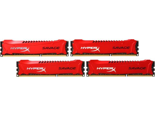 HyperX Savage 32GB (4 x 8GB) 240-Pin DDR3 SDRAM DDR3 1600 (PC3 12800) Desktop Memory Model HX316C9SRK4/32