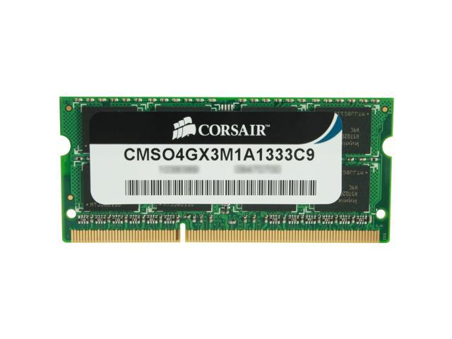 CORSAIR 4GB 204-Pin DDR3 SO-DIMM DDR3 1333 Laptop Memory Model CMSO4GX3M1A1333C9