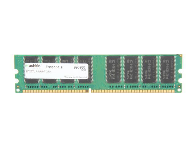 Mushkin Enhanced Essentials 1GB 184-Pin DDR SDRAM DDR 333 (PC 2700) Desktop Memory Model 990980 - OEM