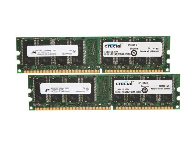 Crucial 2GB (2 x 1GB) 184-Pin DDR SDRAM DDR 333 (PC 2700) Dual Channel Kit Desktop Memory Model CT2KIT12864Z335