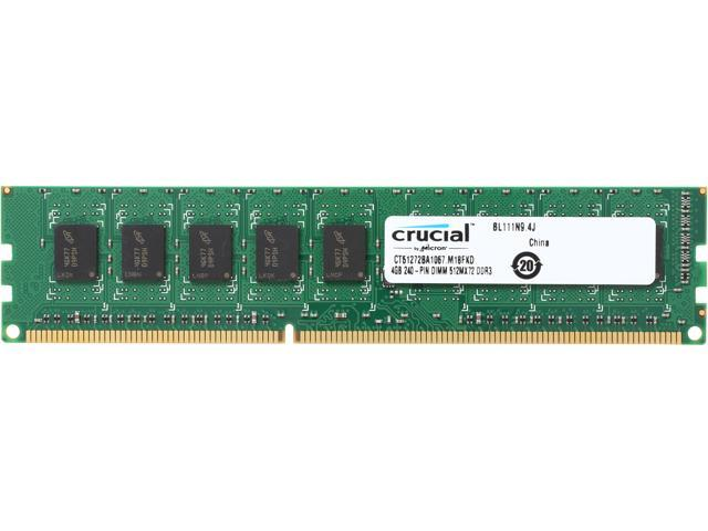 Crucial 4GB 240-Pin DDR3 SDRAM ECC Unbuffered DDR3 1066 (PC3 8500) Desktop Memory Model CT51272BA1067
