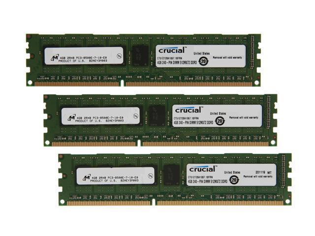 Crucial 12GB (3 x 4GB) 240-Pin DDR3 SDRAM ECC Unbuffered DDR3 1066 (PC3 8500) Server Memory Model CT3KIT51272BA1067