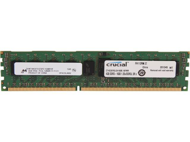 Crucial 4GB 240-Pin DDR3 SDRAM ECC Registered DDR3 1600 (PC3 12800) Server Memory Model CT4G3ERSLS4160B