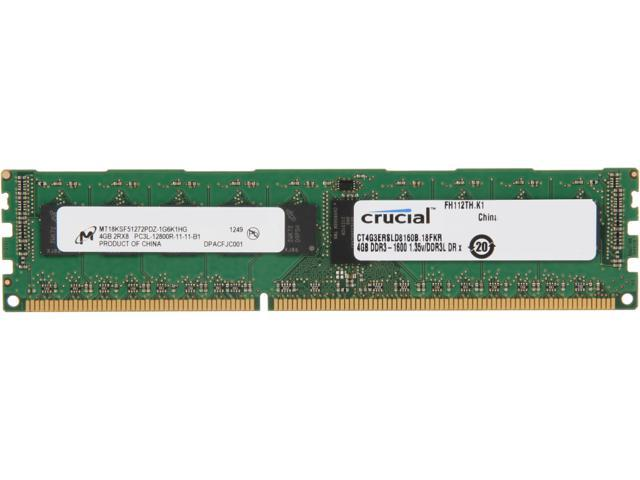 Crucial 4GB 240-Pin DDR3 SDRAM ECC Registered DDR3 1600 (PC3 12800) Server Memory Model CT4G3ERSLD8160B