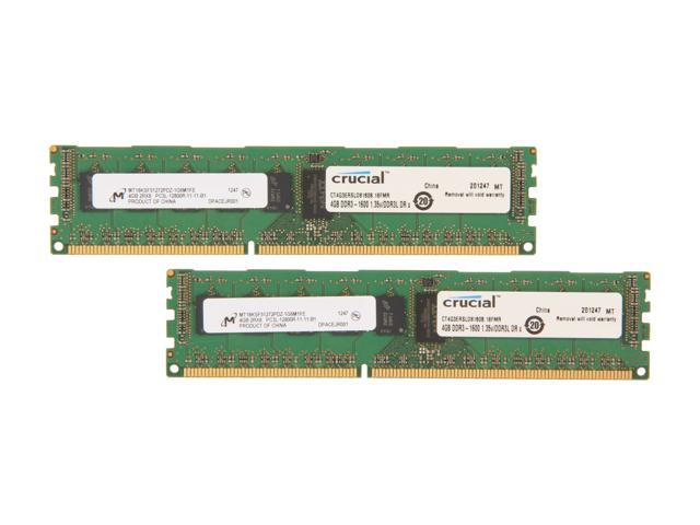 Crucial 8GB (2 x 4GB) 240-Pin DDR3 SDRAM ECC Registered DDR3 1600 (PC3 12800) Server Memory Model CT2K4G3ERSLD8160B