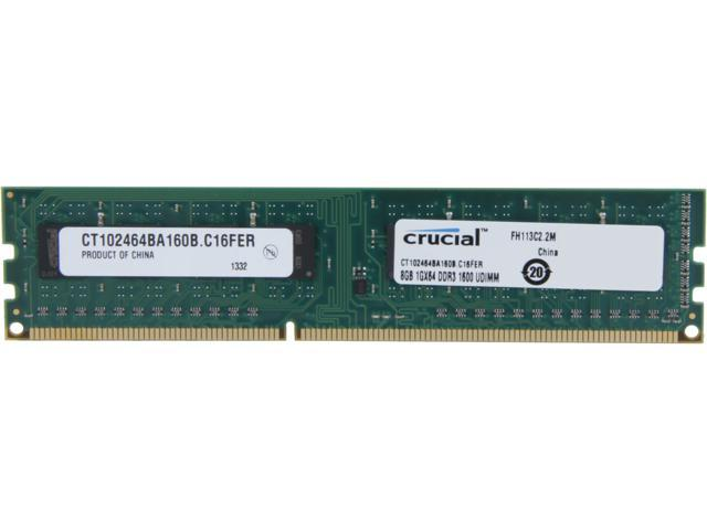 Crucial 8GB 240-Pin DDR3 SDRAM DDR3 1600 (PC3 12800) Desktop Memory Model CT102464BA160B