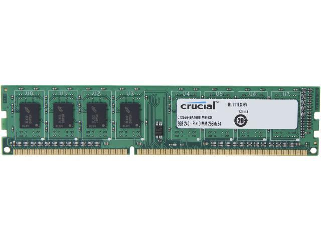Crucial 2GB 240-Pin DDR3 SDRAM DDR3 1600 (PC3 12800) Desktop Memory Model CT25664BA160B