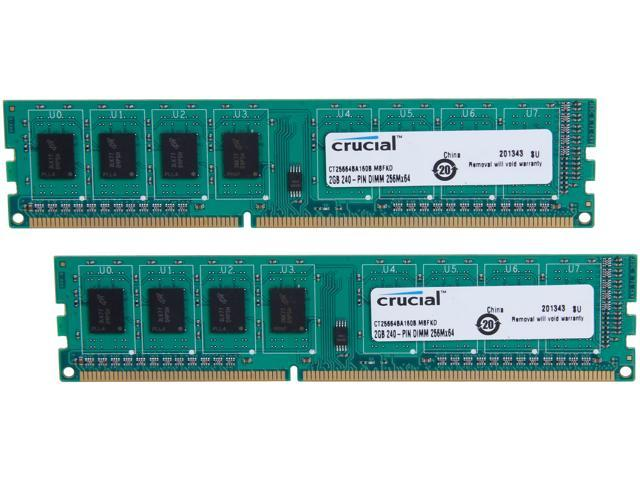 Crucial 4GB (2 x 2GB) 240-Pin DDR3 SDRAM DDR3 1600 (PC3 12800) Desktop Memory Model CT2KIT25664BA160B