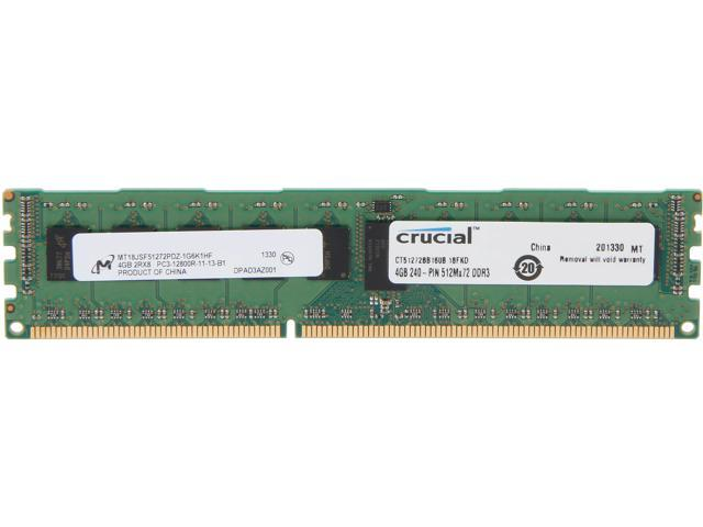 Crucial 4GB 240-Pin DDR3 SDRAM ECC Registered DDR3 1600 (PC3 12800) Server Memory Model CT51272BB160B