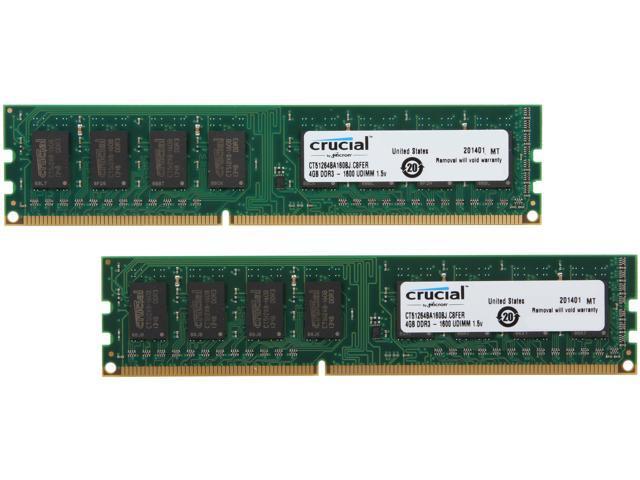 Crucial 8GB (2 x 4GB) 240-Pin DDR3 SDRAM DDR3 1600 (PC3 12800) Desktop Memory Model CT2KIT51264BA160BJ