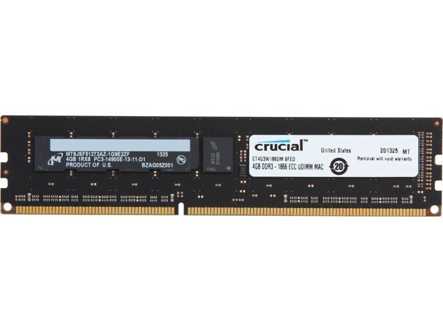 Crucial 4GB DDR3 1866 (PC3 14900) ECC Unbuffered Memory For Mac Pro Systems Model CT4G3W186DM