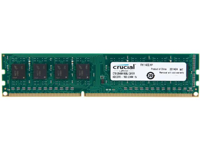 Crucial 4GB 240-Pin DDR3 SDRAM DDR3 1600 (PC3 12800) Desktop Memory Model CT51264BA160BJ