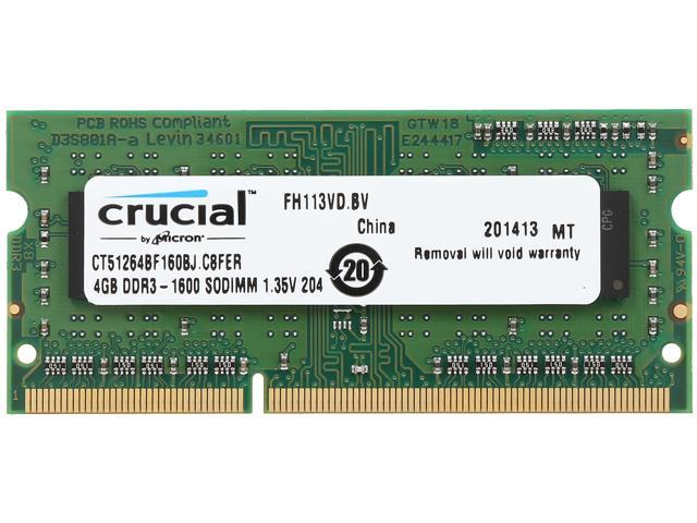 Crucial 4GB 204-Pin DDR3 SO-DIMM DDR3 1600 (PC3 12800) Laptop Memory Model CT51264BF160BJ