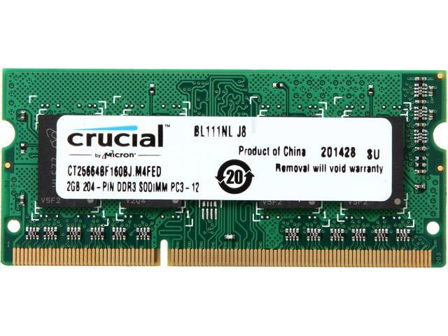 Crucial 2GB 204-Pin DDR3 SO-DIMM DDR3 1333 (PC3 10600) Laptop Memory Model CT25664BF160BJ