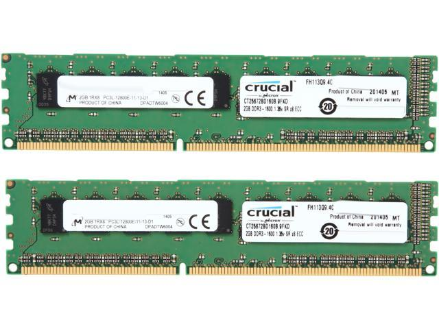 Crucial 4GB (2 x 2GB) 240-Pin DDR3 SDRAM ECC Yes Unbuffered DDR3 1600 (PC3 12800) Server MemoryModel CT2KIT25672BD160B
