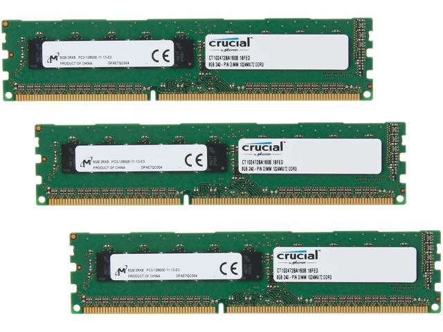 Crucial 24GB (3 x 8GB) 240-Pin DDR3 SDRAM ECC Unbuffered DDR3 1600 (PC3 12800) Server Memory Model CT3KIT102472BA160B