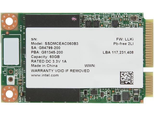 Intel 525 Series Lincoln Crest SSDMCEAC060B301 mSATA 60GB SATA III MLC Internal Solid State Drive (SSD)