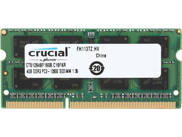 Crucial 4GB 204-Pin DDR3 SO-DIMM DDR3 1600 (PC3 12800) Laptop Memory Model CT51264BF160B