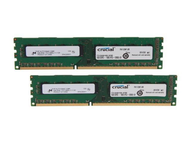 Crucial 8GB (2 x 4GB) 240-Pin DDR3 SDRAM DDR3 1600 (PC3 12800) Desktop Memory Model CT2KIT51264BA160B