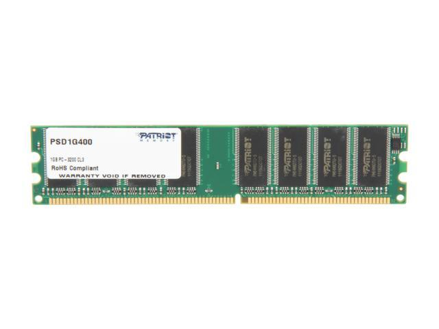Patriot 1GB 184-Pin DDR SDRAM DDR 400 (PC 3200) Desktop Memory Model PSD1G400