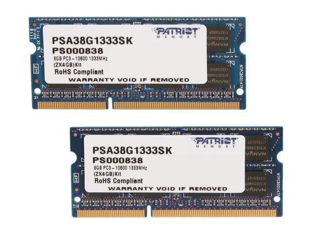 Patriot Memory Mac Series 8GB (2 x 4GB) 204-Pin DDR3 SO-DIMM DDR3 1333 (PC3 10600) Memory for Apple Model PSA38G1333SK