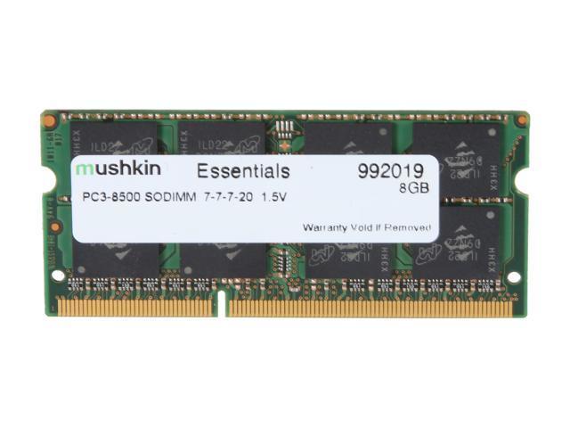 Mushkin Enhanced Essentials 8GB 204-Pin DDR3 SO-DIMM DDR3 1066 (PC3 8500) Laptop Memory Model 992019