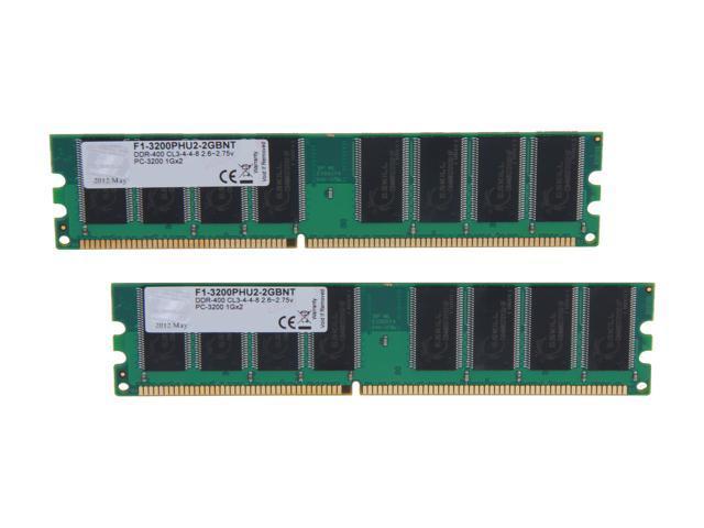 G.SKILL Value 2GB (2 x 1GB) 184-Pin DDR SDRAM DDR 400 (PC 3200) Desktop Memory Model F1-3200PHU2-2GBNT
