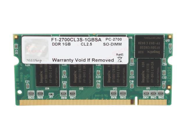 G.SKILL 1GB 200-Pin DDR SO-DIMM DDR 333 (PC 2700) Laptop Memory Model F1-2700CL3S-1GBSA