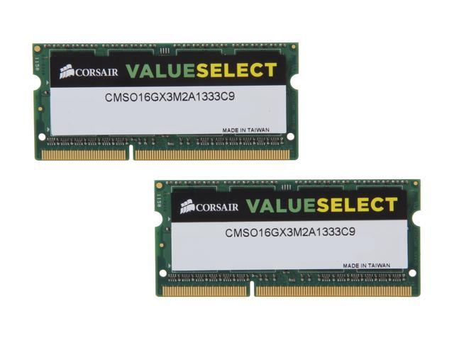 CORSAIR 16GB (2 x 8G) 204-Pin DDR3 SO-DIMM DDR3 1333 Laptop Memory Model CMSO16GX3M2A1333C9
