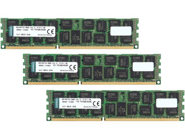 Kingston 48GB (3 x 16GB) 240-Pin DDR3 SDRAM ECC Registered DDR3 1333 (PC3 10600) Memory Model KTD-PE313Q8LVK3/48G