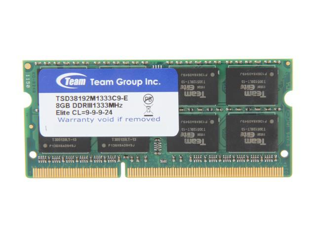Team 8GB 204-Pin DDR3 SO-DIMM DDR3 1333 Laptop Memory Model TSD38192M1333C9-E