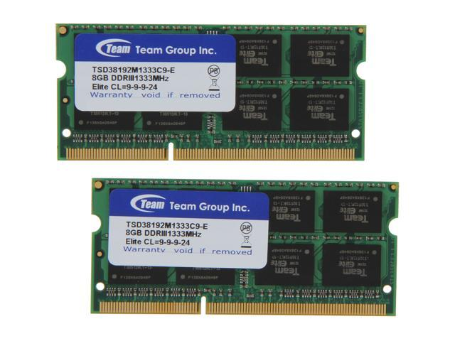 Team 16GB (2 x 8G) 204-Pin DDR3 SO-DIMM DDR3 1333 Laptop Memory Model TSD316G1333C9DC-E