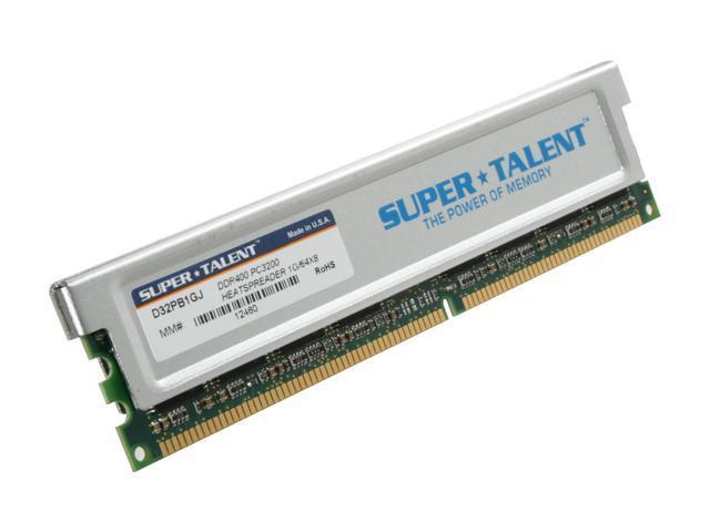 SUPER TALENT 1GB 184-Pin DDR SDRAM DDR 400 (PC 3200) Desktop Memory Model D32PB1GJ