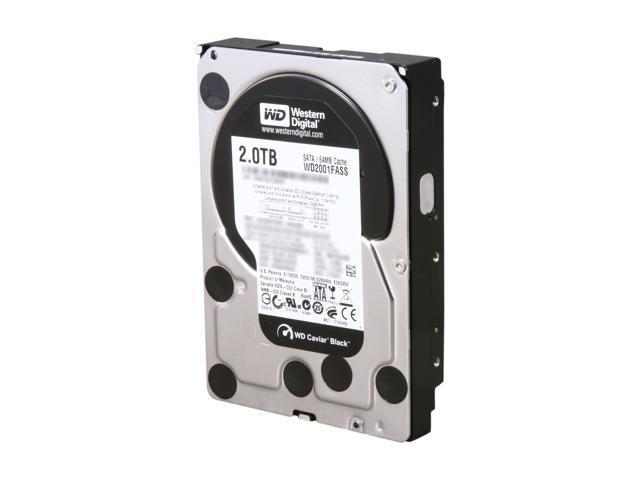 """Western Digital Black WD2001FASS 2TB 7200 RPM 64MB Cache SATA 3.0Gb/s 3.5"""" Internal Hard Drive Bare Drive"""
