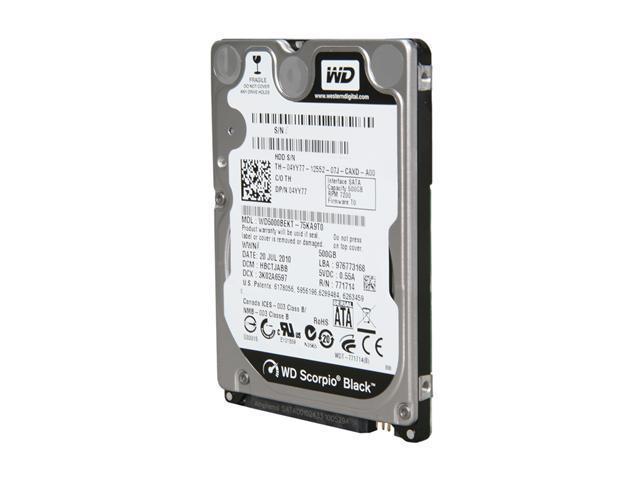 Western Digital Scorpio Black WD5000BEKT 500GB 7200 RPM 16MB Cache SATA 3.0Gb/s 2.5