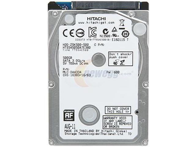 Hitachi GST Travelstar Z5K500 HTS545050A7E380 500GB 5400 RPM 8MB Cache SATA 3.0Gb/s 2.5