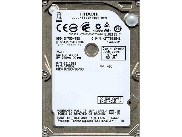 Hitachi GST Travelstar 5K750 HTS547575A9E384 750GB 5400 RPM 8MB Cache SATA 3.0Gb/s 2.5