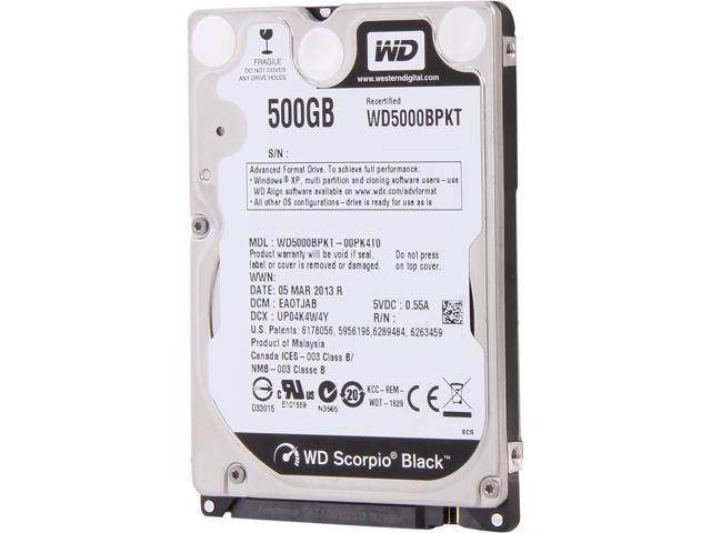 "WD Scorpio Black WD5000BPKT 500GB 7200 RPM 16MB Cache SATA 3.0Gb/s 2.5"" Internal Notebook Hard Drive Bare Drive"