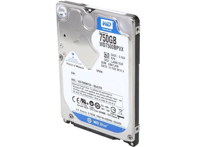 WD Blue WD7500BPVX 750GB 5400 RPM 8MB Cache SATA 6.0Gb/s 2.5
