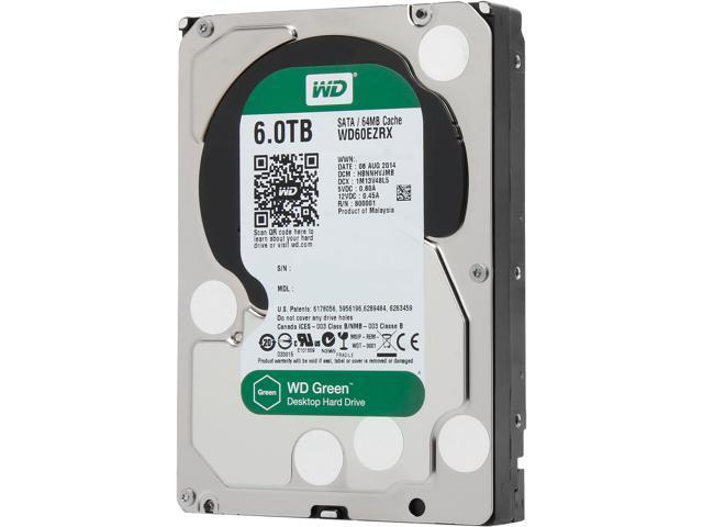 WD Green WD60EZRX 6TB 64MB Cache SATA 6.0Gb/s 3.5