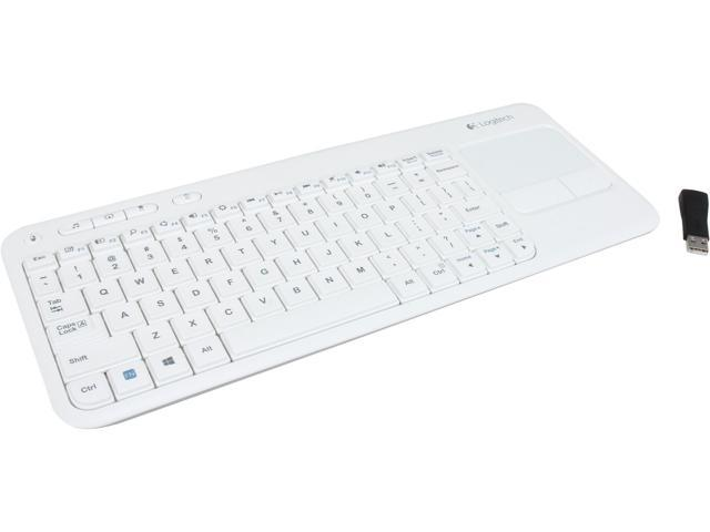 Logitech Wireless Touch k400 920-005878 White USB RF Wireless Slim Keyboard