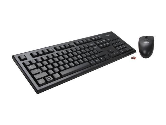 A4Tech 3100N Black 104 Normal Keys USB RF Wireless Standard Keyboard & Mouse