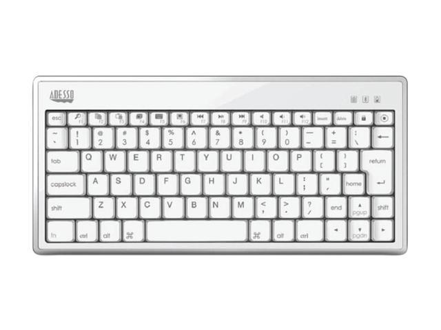 ADESSO WKB-1010BW White Bluetooth Wireless Mini Keyboard 1010 for iPad