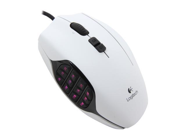 Logitech G600 MMO 910-002871 White 20 Tilt Wheel USB Wired Laser 8200 dpi Gaming Mouse